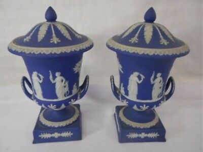 Rare Pair of Antique Wedgwood Blue JasperWare Campana Muses Covered Urns