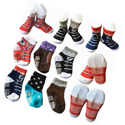 6 Pairs Toddler Baby Walkers Boy Non Skid Socks Anti Slip Stretch Knit Ankle Cot