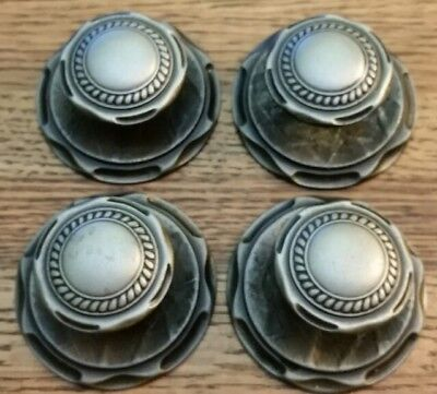 Set 4 Vintage Pewter Drawer Door Pulls Cabinet Hardware