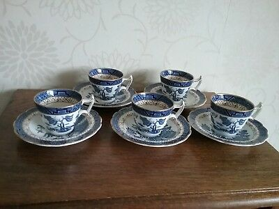 Antique Booths Real Old Willow A8025 set of 5 Coffee Cups and Saucers Cup Saucer