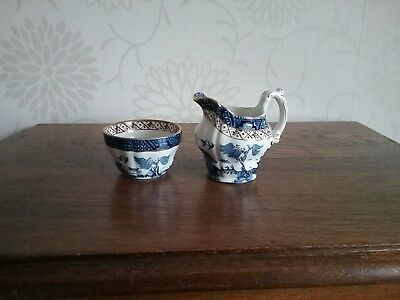 Antique Booths Real Old Willow A8025 Tiny Cream jug and Sugar Bowls small milk