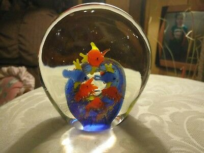 Vintage Murano Art Glass Fish Aquarium Paperweight Sculpture Rare Signed MUSTSEE