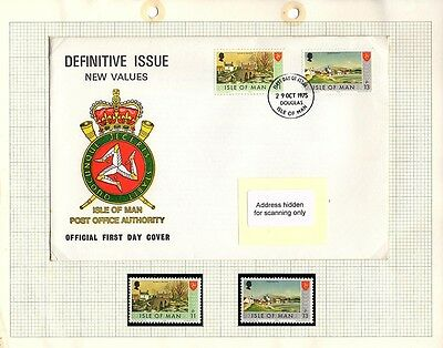 Isle of Man Stamps - FDC & Mint set of 2 1975 Definitive Issue SG29 & 30