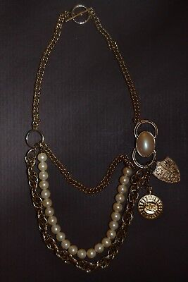 Chanel STYLE CC Gold Tone Chain Faux Pearl NOT AUTHENTIC Necklace (JHL)