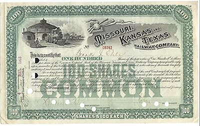 """Old Stock Certificate 100 Shares """" Missouri, Kansas and Texas RC"""" w/ Roundhouse"""