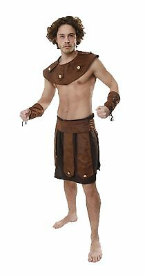 Adult Mens Greek Soldier Costume Gladiator Warrior Fancy Dress Party Outfit