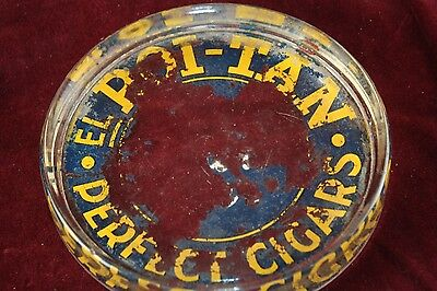* Antique Advertising Roi-Tan Perfect Cigar Glass Old Reverse Painted Ashtray *