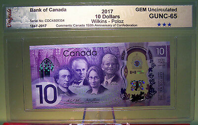 CANADA 2017 $10 POLYMER NOTE COMMEMORATIVE THE 150th ANNIVERSARY OF CANADA