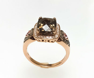 Le Vian 14k Rose Gold Quartz Diamond & Sapphire Ring // 887-830 Estate