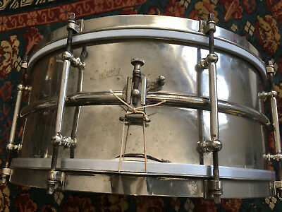"Vintage 1920's LUDWIG 15x6.5"" Nickel on brass BLK BTY TWO PIECE SHELL Snare Drum"