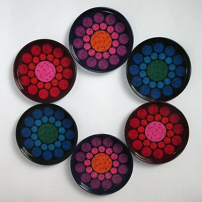 Vintage 1960s 70s - Tin Coasters x6 - Excellent Condition - With Box - RETRO