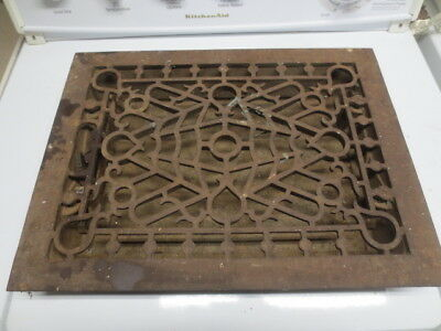 vtg/Antique Cast Iron Heat Grate Vent Register 12x16 - 10x14 Rough Opening