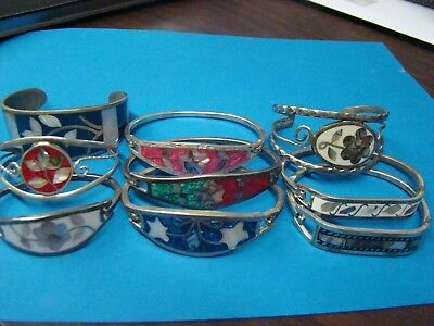 Lot of 10 Mexico Alpaca Inlay Bracelets, Very small to Average Size