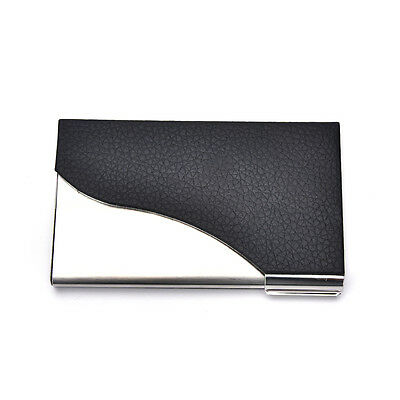 1XTop   New Black PU Leather&Stainless Steel Business Name Card Case Holder AB