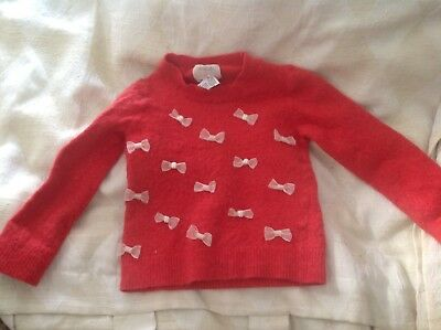 Crewcuts Childrens Pink Sweater with Bows - Size 8 Merino Wool