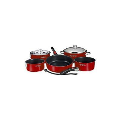 Magma Nesting 10-Piece Cookware Magma Red Exterior & Slate Black Non-Stick