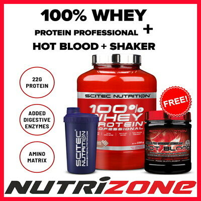 Scitec Nutrition 100% Whey Protein Pro Isolate + Hot Blood + Shaker Dpd Next Day