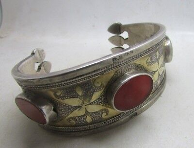 Antique Silver Jewellery - Islamic Bracelet With Gold Inlay And Stone Inserts