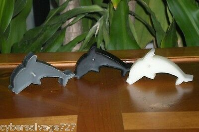 Set of 3 Nautical Black White and Grey Dolphin Tea Light Candles  Beeswax