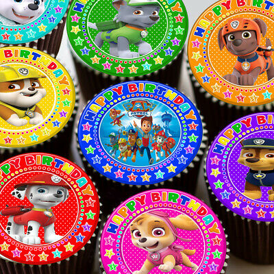 Paw Patrol Mixed Colourful Happy Birthday Edible Cupcake Topper Decoration Kp24
