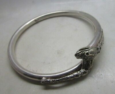 Antique Silver Jewellery - Bracelet With Reptile Heads