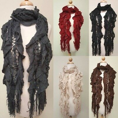 Women's Warm Winter Ruffle Long Scarf Knit Shawl Neck Wrap Cowl Fringe Infinity