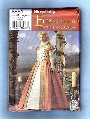 SIMPLICITY ELIZABETHAN SEWING PATTERN 8881 COSTUME GOWN, 6-12, *Uncut*