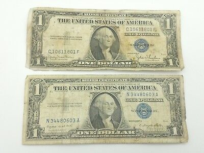 1957A, 1935D Blue Seal One $1 Dollar Silver Certificate Bill Old Paper Money R3