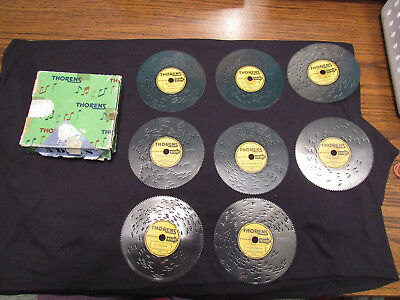 8 Vintage Thorens metal music discs Swiss Made