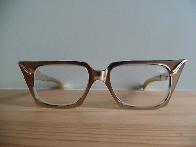 Vintage Ladies 'Walby's' Stunning Rose Gold Metal Cat Eye Glasses 46 x 20