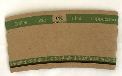 eco Kloud Recycled Paper Hot Cup Sleeves For Coffee 12-16 Ounce Pack of 100 NEW
