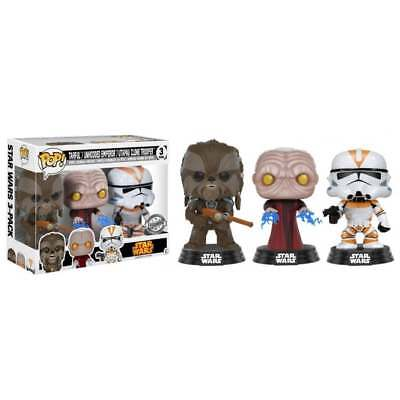 Star Wars Funko POP! 3-Pack:Tarfful, Unhooded Emperor, Utapau Clone