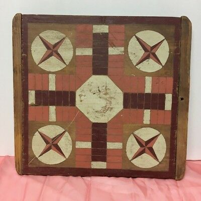 ANTIQUE Game Board PARCHEESI Wooden PRIMITIVE Hand Painted AAFA New England Wood