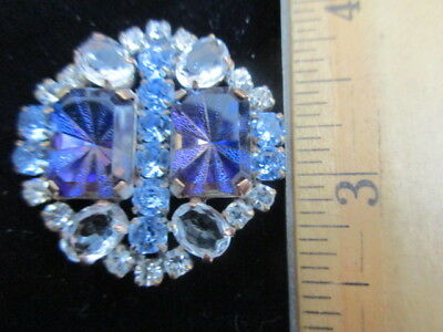 Outstanding Vintage Style Czech Glass Rhinestone Button Crystal Clear & Blue