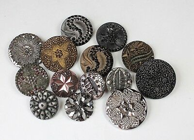 Antique Large Lacy Black Glass Buttons Vtg Silver Gold Luster Glass Button Lot