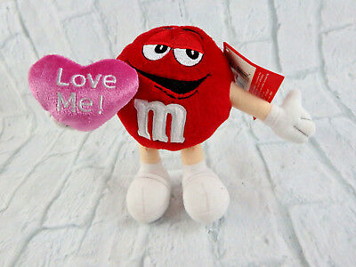 "M&M Red Is Ready for Love Carrying a Valentine's Pink Heart ""Love Me"" 2001 NWT"
