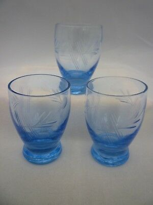 Vintage Retro 3 Etched Blue Glass Tot or Shot Drinking Glasses Art Deco? ex cond