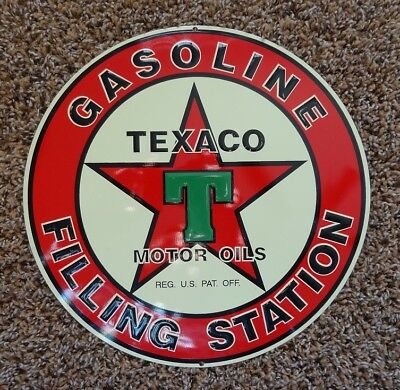 "TEXACO Gasoline Filling Station 10 3/4"" Round Metal Sign - NOS 1990's Repro"