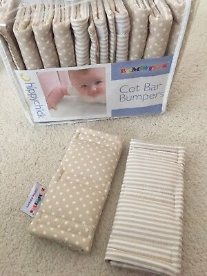 Neutral Hippichick Baby Cot Bed Cot Bar Bumpsters Bumpers Dots Stripes