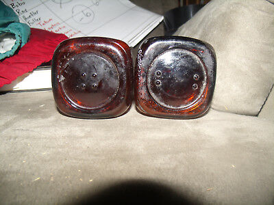 Two very old Brown square snuff Bottles