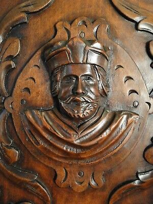 Hand Carved Wood Panel Antique French Walnut Figural Salvaged Carving