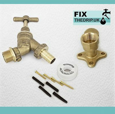"""3/4"""" Garden Outside Tap with Backplate Elbow, plugs PTFE and Screws"""