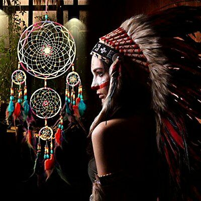 NEW Large Dream Catcher Colorful Feathers Wall Home Office Hanging Ornament 31''
