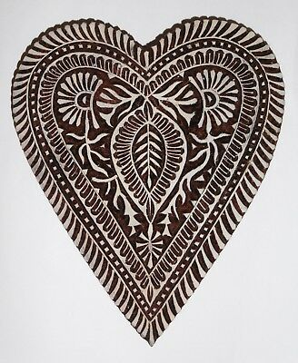 Heart Shaped 20cm Large Indian Hand Carved Wooden Printing Block SLIGHT SECONDS