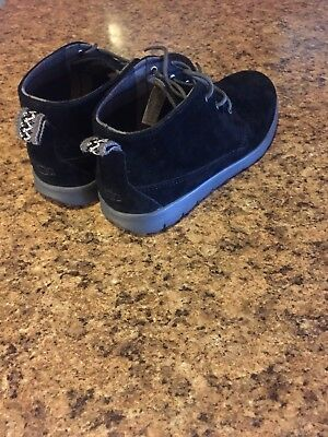 "New!! Boys UGG K CANOE SUEDE ""1014363KK""BLACK/GREY CASUAL SHOES!!(4)"