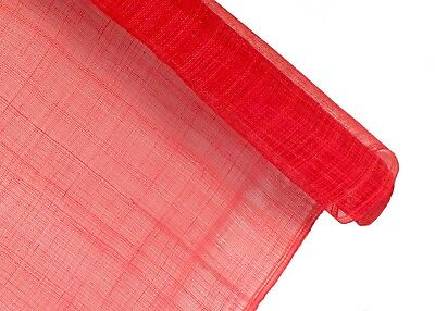 Stiffened Sinamay Millinery Fabric - Red - 1 Meter x 90cm