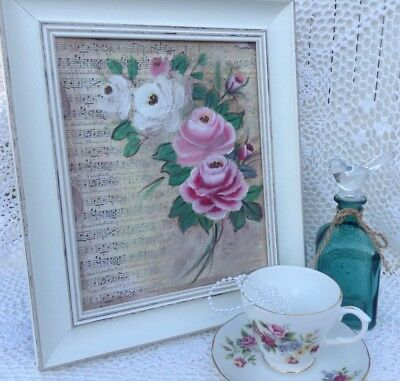 8 X 10 Vintage Cottage Shabby Chic Hp Pink/White Roses Hand painted Canvas
