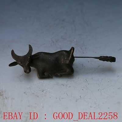 Rare collectibles Chinese old style Brass Carved Cattle lock with key