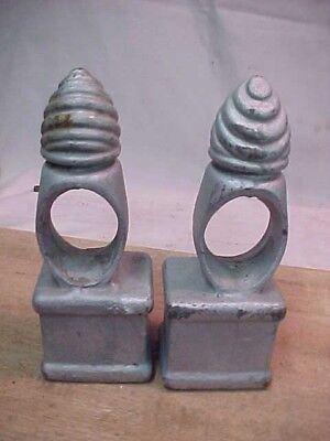 Pair of Antique Cast Iron Fence Post Vintage Finials