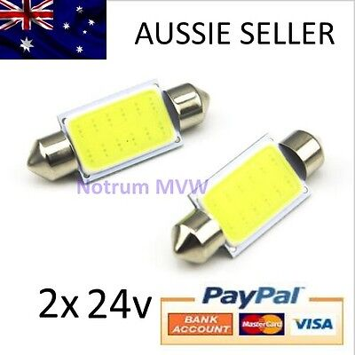 1x 24V Festoon 39mm COB LED White Light C5W Truck 4wd Caravan Bus Bulb Globe 6k